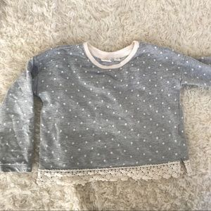 Gap kids polka dot and crochet bottom sweatshirt